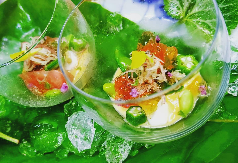 トマト昆布〆と高原野菜